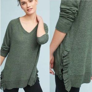 Anthropologie | Postage Stamp Olive Ruffle Sweater